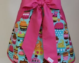 Apron - Cupcakes with Hot Pink Half Apron - Baking Apron - Mothers Day Apron - Vendor Apron - Bakery Apron - Personalized Half Apron - Apron