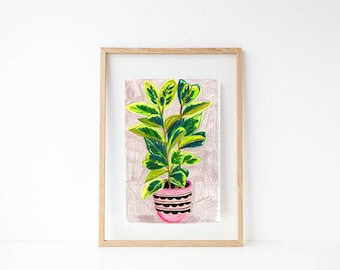 Plant Illustration. Plant Kitchen Decor. Crazy Plant Lady. House Plant Art. Gifts for Plant Lover. Gifts for Gardeners. Botanical Wall art.