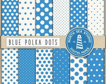 BUY5FOR8 Polka Dots Digital Paper Blue Polka Dots Paper Blue Backgrounds Digital Scrapbooking 12 JPG 300 DPI Files Download