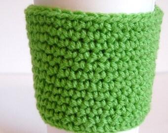 Crochet Reusable Coffee Sleeve, Coffee Cozy, Green, Eco Friendly