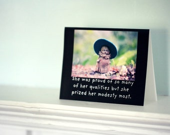Dolly Notecard Funny Stationary Adventures of Claudia Photo Card She Prized Her Modesty China Doll Photography