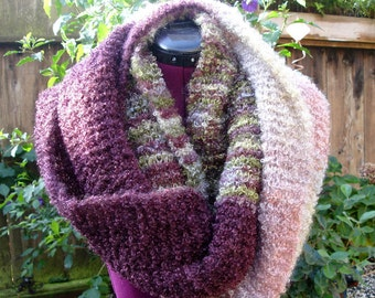OOAK  Hand Painted Boucle Yarn - Handknitted Shawl