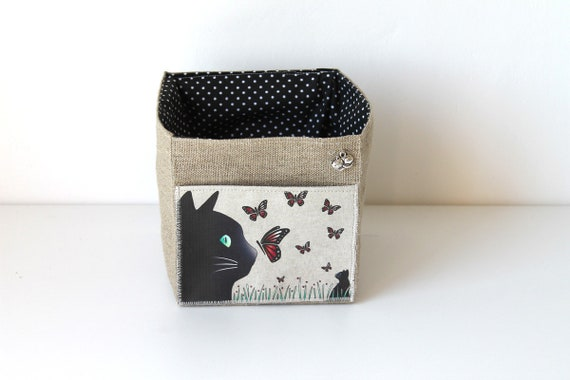 Small square linen illustrated cat and butterflies basket