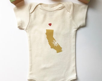 California Organic Cotton Infant Short Sleeve One Piece, Love from CA, California State-Wanderlust-The Golden State-Baby Shower Gift