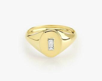 Signet Ring in 14k Gold / Baguette Diamond Pinky Ring in 14k Gold / Bezel Set Baguette Rose Gold Pinky Ring / Graduation Gift