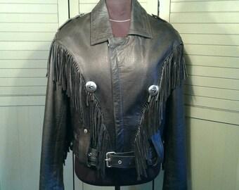 Tecone Biker Leather Fringed Silver Concho Heavy Vintage Belted Black Jacket Motorcycle Hipster Rocker Men's Size 42 Large