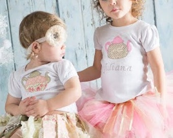 Tea Party 1st Birthday Tutu Outfit, Teapot Birthday Personalized Shirt