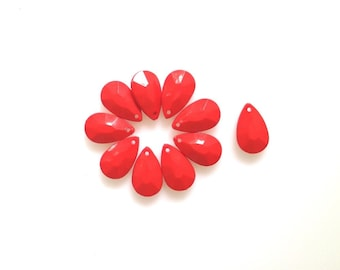 Red faceted drop bead pendant, Bauble drop bead pendant, Acrylic Plastic bubble bead, 10