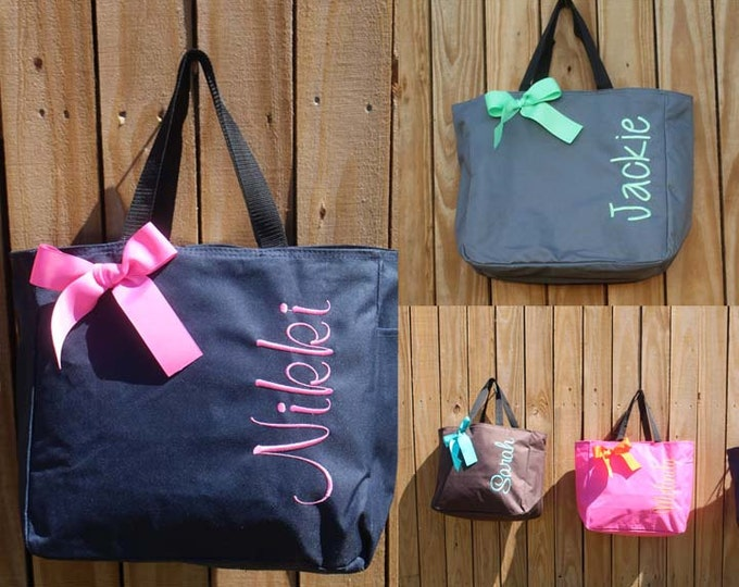 2 Personalized Bridemaid Gift Tote Bags, Embroidered Tote, Monogrammed Tote, Bridal Party Gift