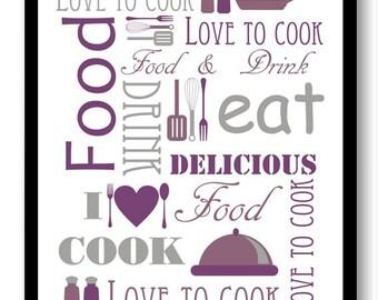 Purple Grey Gray Kitchen Print Food Love To To Cook Eat Food U0026 Drink Kitchen  Art