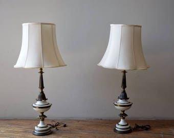 Pair Vintage Stiffel Hollywood Regency Style Brass/White Enamel Table Lamps