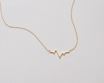 HeartBeat Necklace, ECG Necklace , Delicate Minimalist Necklace in Sterling Silver, Gold, Rose Gold #D98