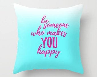 Happiness Quotes For Girls, Throw Pillows With Sayings, Pillow Covers 20x20 Small Decorative Pillows Teen Girl Room Decor Female Empowerment