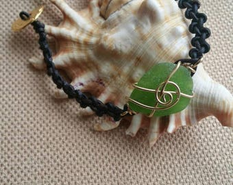 Lime green sea glass bracelet - gold filled wire wrapped - leather bracelet