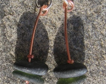 Handcrafted Copper and Sterling Earrings With Lake Superior Beach Glass and Zen Stones