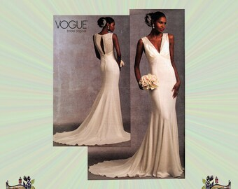 Sleeveless V-Neck Bridal Gown with Train, Vogue Bridal Original,  Size 6-8-10-12-14-16, Bust 30-31-32-34-36-38, Sewing Pattern 1032