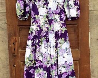 Adorable Vintage 80's Button down Floral Prairie Dress By Ed Michaels size medium
