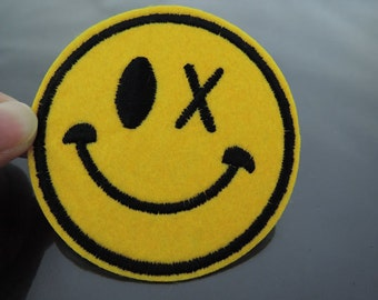 Iron on Patch - Smile Face Patches Yellow patch Emoji Iron on Applique embroidered patch Sew On Patch