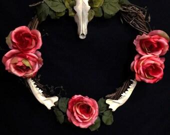 Asymetrical Coyote Skull and Jaw Bone Rose Wreath