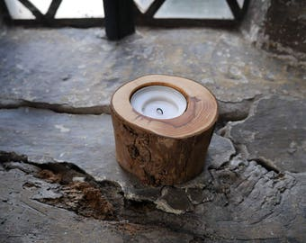 Handmade Natural Yew Tealight Candle Holder