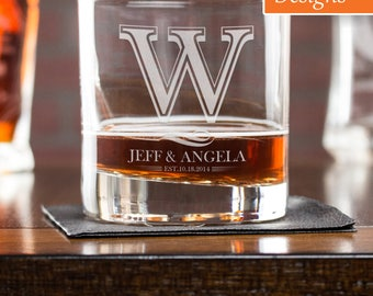 Cocktail Glass, Personalized Whiskey Glass, Engagement Gift, Whiskey Rocks Glass, Best Man Glass, Monogram Rock Glass, Couple Gift
