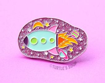 Rocket Ship, Soft Enamel Pin, 90s Lapel Pin, Vaporwave, Galaxy Pins, Crystal Glitter, Stars, Planets, Pink, Blue, Spaceship, Space, Science