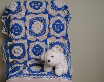 Crochet cotton baby blanket, newborn baby blanket, color blue avio and ice. Ready to ship