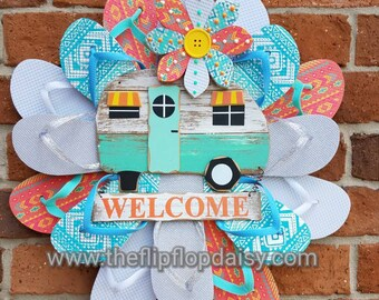 "Beautiful ""RV Welcome"" Flip Flop Wreath Door Wall Decor Unique Gift So Adorable Camping"