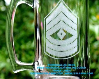 Personalized Army First Sergeant Beer Mug Custom Military Gift, 27.25oz