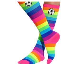 Girls Soccer Socks Rainbow Knee High Socks Black and White Glitter Soccer Ball Team Player Socks Sports Play Football Colorful Feet Socks