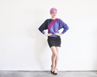 Dior 1980 colorblock sweater . dramatic batwing knit top .medium.large .sale