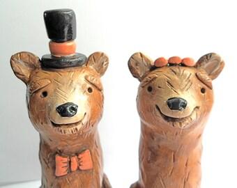 Brown Bears in Love Rustic wedding cake topper