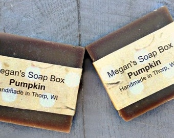 Pumpkin bar soap, sweet pumpkin soap, fall scented soap, colp process soap.