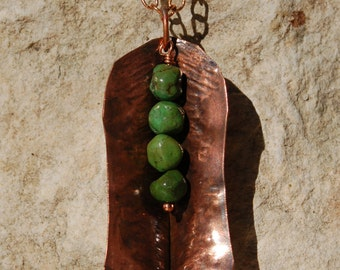 Green Turquoise in a Fold Form Copper Pod Necklace......item number 7337