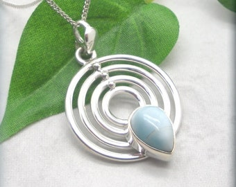 Genuine Larimar Necklace, 925 Sterling Silver, Concentric Circles, Stefilia's Stone, Dominican Larimar Pendant, Gift for Her, Cabochon
