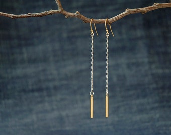 long gold charm on silver chain mixed metal earrings, bar earrings, gold bar earrings, simple gold bar earrings