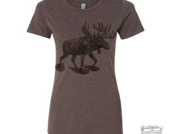 Womens MOOSE (in Snow Shoes) hand screen printed T Shirt s m l xl xxl (+ Colors Available) custom