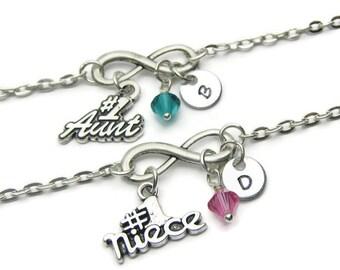 Aunt And Niece Infinity Initial Swarovski Birthstone Bracelets,Aunt And Niece Bracelets,Aunt Bracelet,Niece Bracelet, Aunt And Niece Jewelry