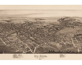 Du Bois, Clearfield County, Pennsylvania. Antique Birdseye Map; 1895