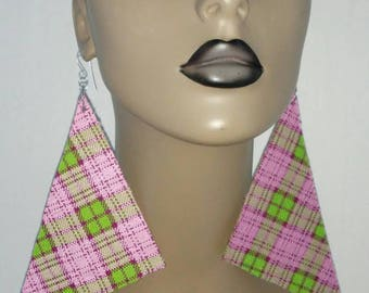 Fabulous Pink and Green Plaid Print Triangle Fabric Earrings, Multiple Color, Large Fabric Earrings, Women Earrings, Large Earrings