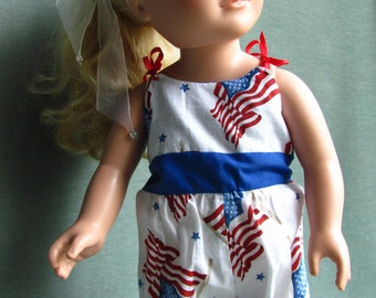 4th of July Romper fits like American Girl Style Doll Clothes flags red white and blue