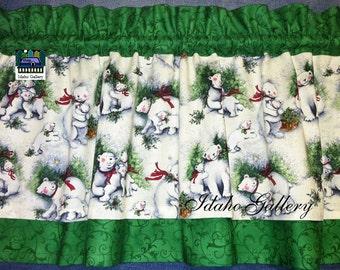 Polar Bear Curtain Momma Bear Cubs Free Ship Holiday Decor Kitchen Curtain Christmas Decor Animal Valance Nature S Winget Fabric Green White