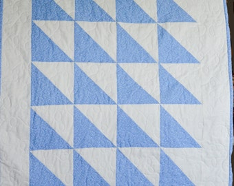 Soft blue baby quilt - free shipping