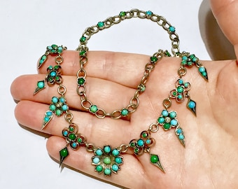 antique English Victorian natural Turquoise possibly Persian sterling silver Riviere necklace