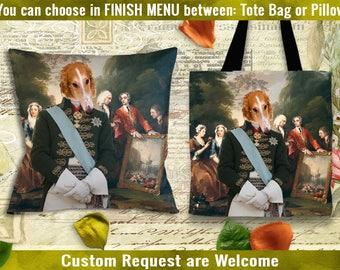 Borzoi Pillow/Borzoi Tote Bag/Borzoi Portrait/Russian Wolfhound ART/Dog Tote Bag/Dog Pillow/Custom Dog Portrait/Personalized Dog