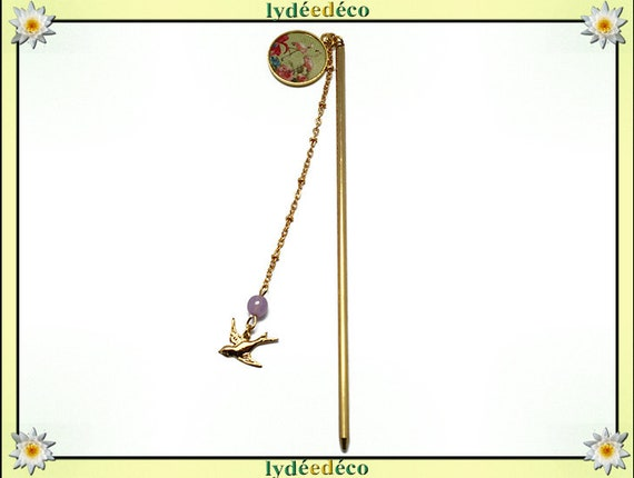 PIC à cheveux FLAMINGO brass gold 24 k flower Flamingo green lime resin pastel mother's day personalized gift anniversary