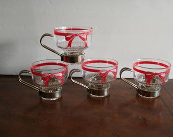 Set of 4 vintage Glass Demitasse Cups. Espresso, Red Bow,