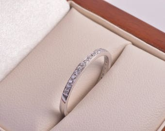 18ct white gold 1/2 diamond pave eternity ring.0.15ct t.w