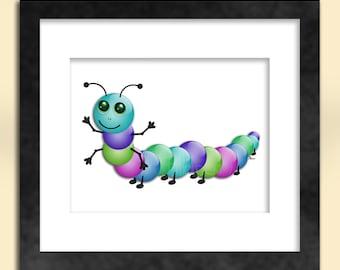 Colourful Caterpillar Art Print