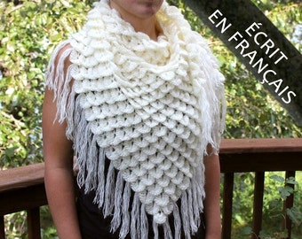 CROCHET PATTERN: Chale Triangulaire Au Point Crocodile - Permission to Sell Finished Product